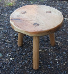 Three legged traditional milking stool hand crafted by Greg Stirling
